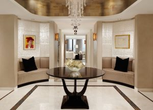 Stylish-and-elegant-foyer-design-ideas-with-white-color-theme-and-black-supporting-color-as-its-two-main-themes-making-the-room-even-more-elegant